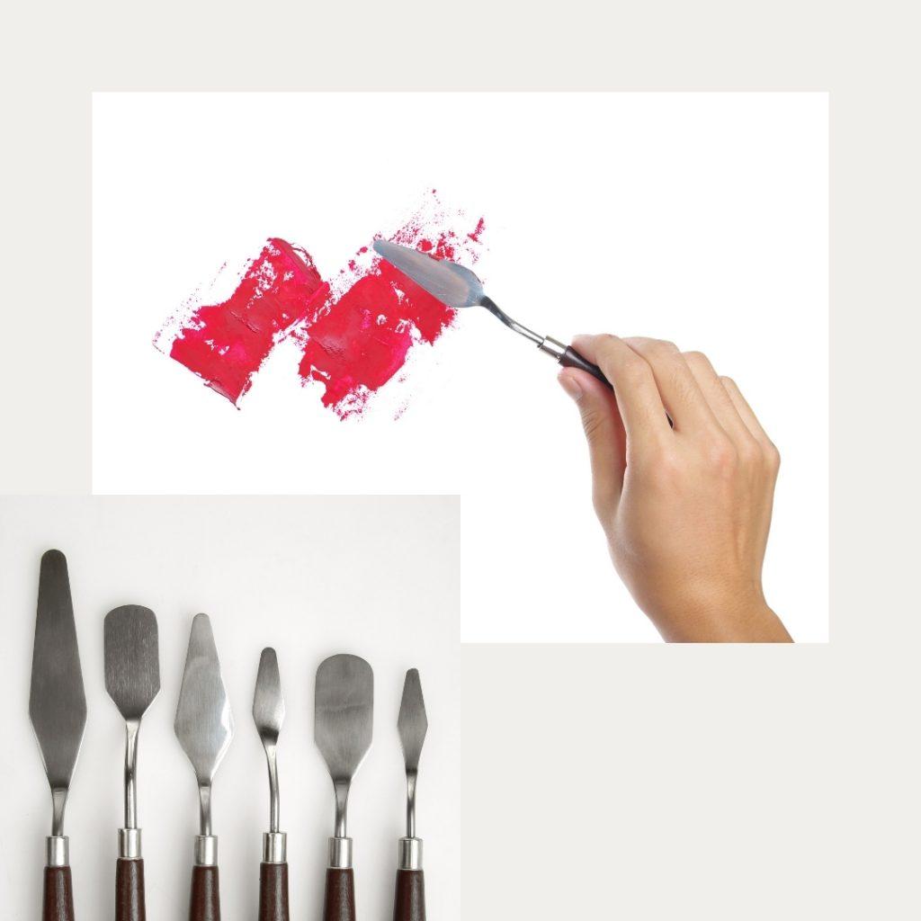 Couteaux à peindre, peinture acrylique