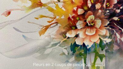 Cours d'arts en ligne Roland Palmaerts Fleurs en deux coups de pinceaux