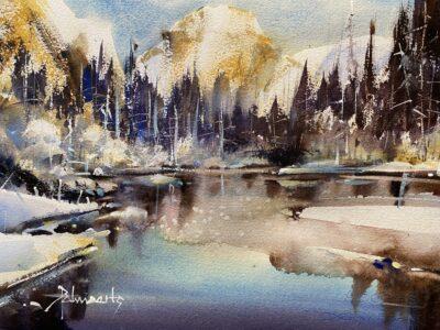Cours d'arts en ligne Roland Palmaerts Montagne et lac