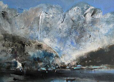 Cours d'arts en ligne Odette Feller Montagne sur fond de textures (ACRYLIQUE)